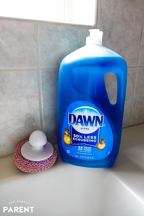 Dawn dish soap on the kitchen counter