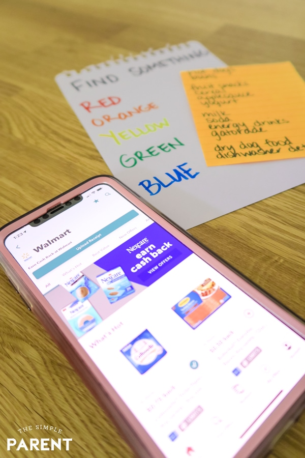 Ibotta App on phone with grocery list and grocery store game for kids to play