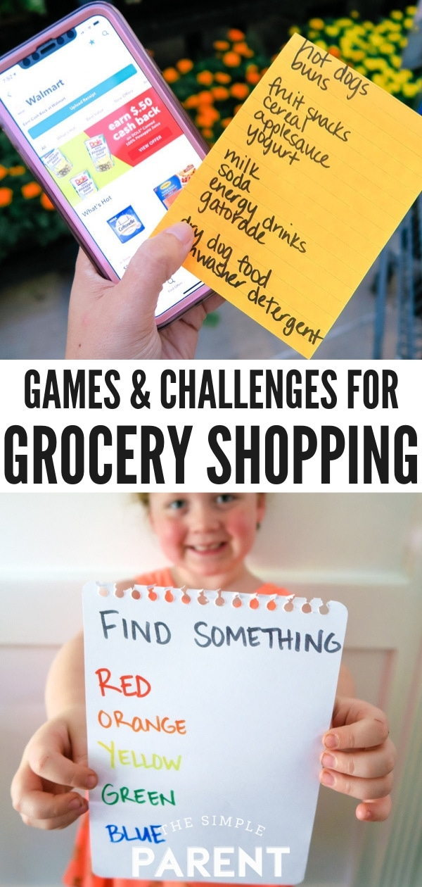 Grocery shopping games are our favorite tips for taking your kids to the grocery store! Challenge them with scavenger hunts, a timer, and more easy ideas! Challenge yourself as an adult too with these ideas!