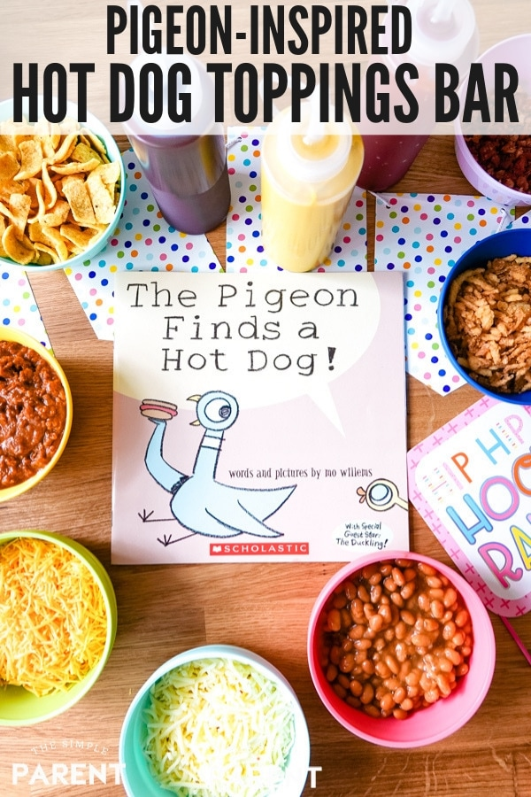 Hot Dog Party with hot dog toppings bar inspired by The Pigeon Finds a Hot Dog! book