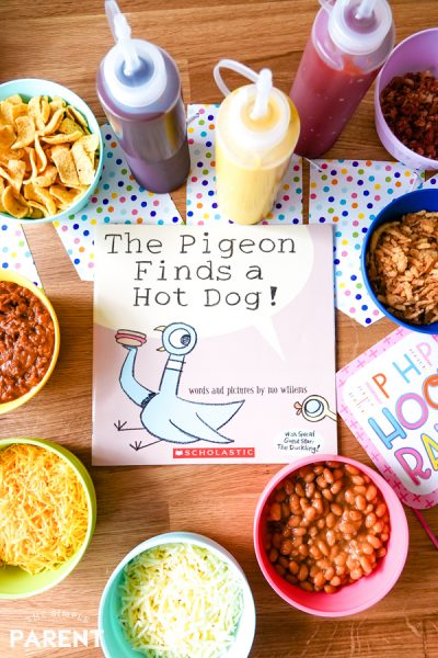 Hot Dog Toppings Bar Inspired by The Pigeon Finds a Hot Dog! book