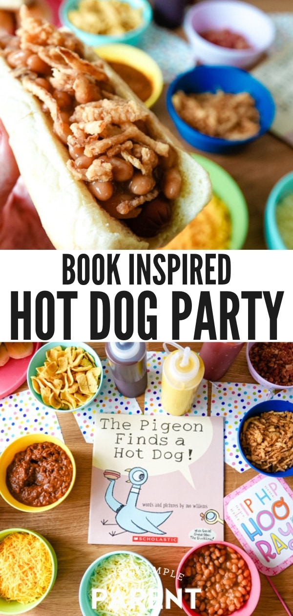 Hot Dog Bar with toppings inspired by children's book The Pigeon Finds a Hot Dog!