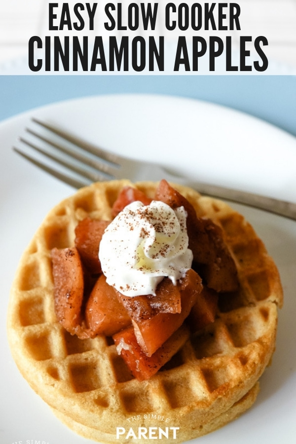 Slow Cooker Apples served as a waffle topping with syrup and whipped cream