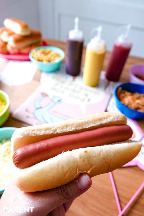 Plain hot dog and hot dog condiments bar