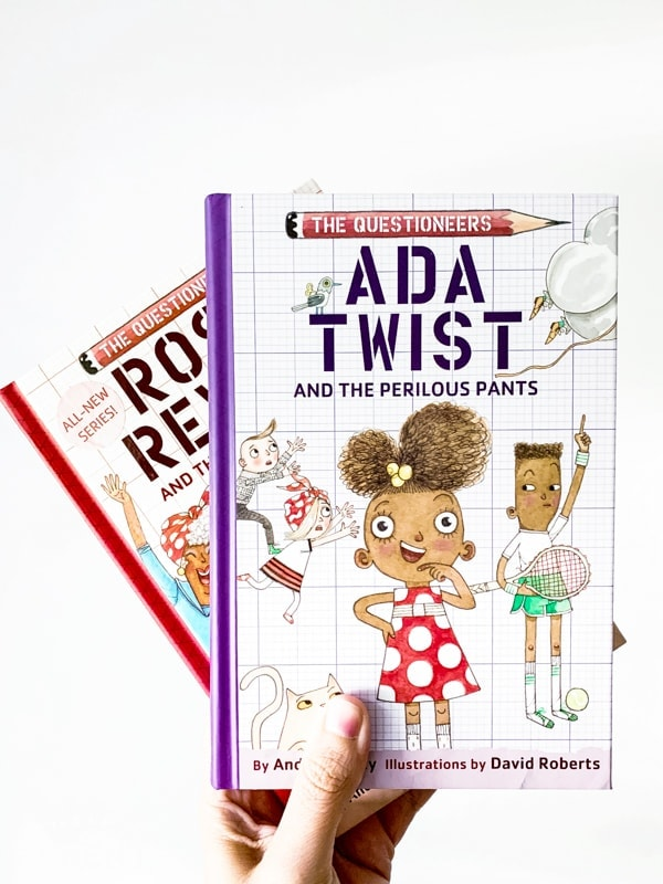Two books from The Questioneers book series including Ada Twist and the Perilous Pants