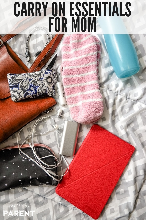 Carry on bag with tablet, socks, earbuds