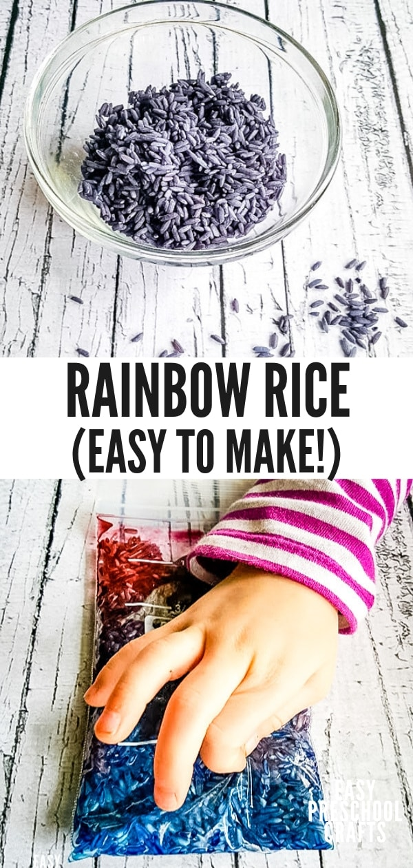How to Dye Rice for sensory activities - this easy rainbow rice recipe doesn't use vinegar or rubbing alcohol. It's easy to make with food coloring. It's perfect for rainy day play and fun for kids!