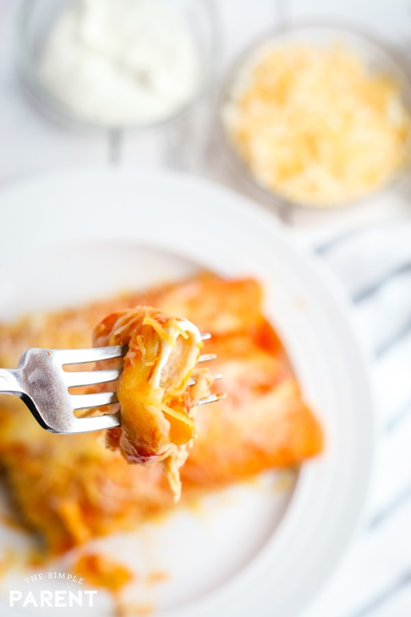 Bite of chicken enchilada made in the Crock Pot