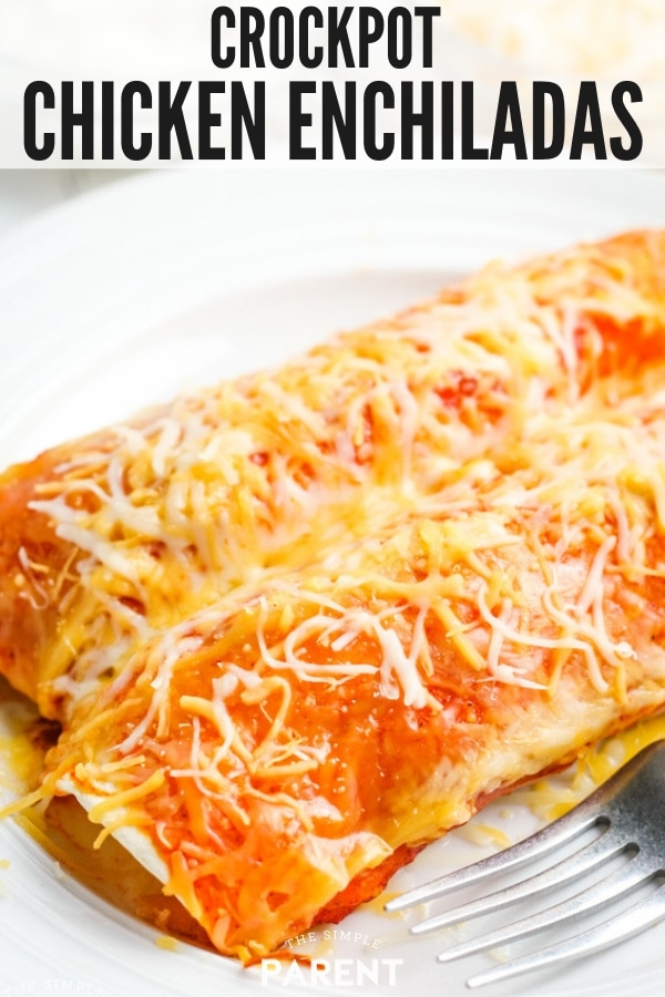 Crock Pot Chicken Enchiladas on a plate
