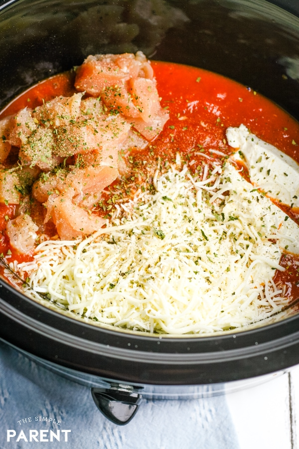 Ingredients to make Crock Pot chicken spaghetti recipe