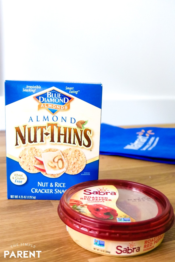 Almond Nut-Thins and Sabra Roasted Red Pepper Hummus