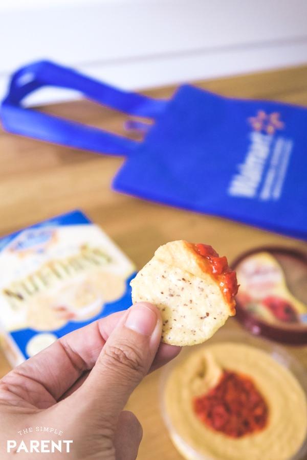 Sabra Roasted Red Pepper Hummus on Almond Nut-Thins