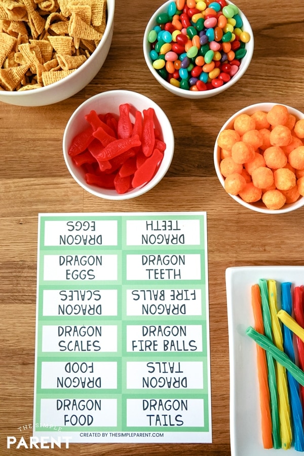 How to Train Your Dragon Party food with printable labels