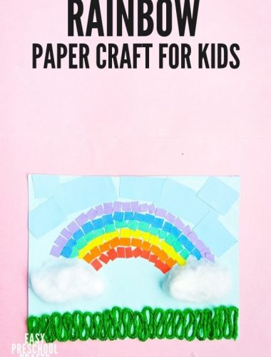 Rainbow Paper Craft collage art project for kids