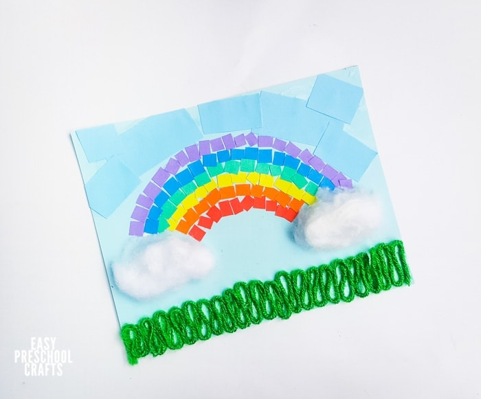 Finished rainbow paper craft for kids