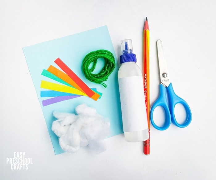 Materials to make rainbow paper craft
