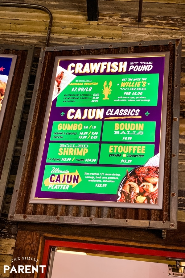 Crawfish menu at Willie's Grill and Icehouse