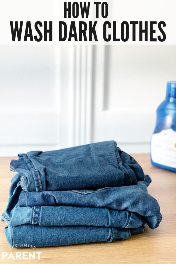 Stack of jeans and dark clothing laundry detergent
