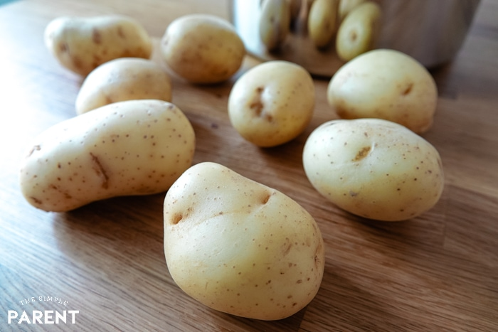 White potatoes on a countertop