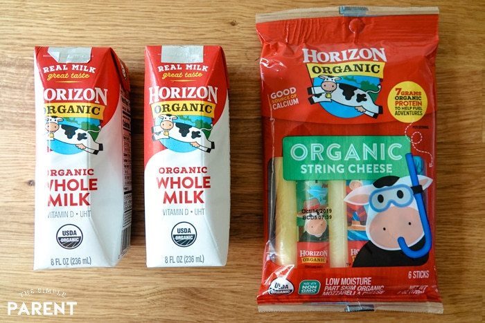 Horizon Organic Milk single serve boxes and String Cheese