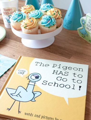The Pigeon HAS to Go to School book and back to school party suuplies