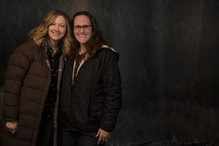 Judy Greer and Mariah Moon of The Simple Parent on the set of Playing with Fire