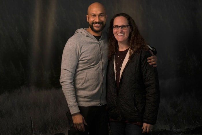 Keegan-Michael Key and Mariah Moon of The Simple Parent on the movie set of Playing with Fire