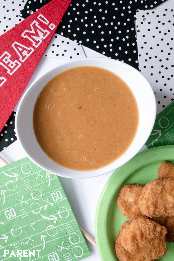 Easy to make creamy BBQ honey mustard dipping sauce for chicken