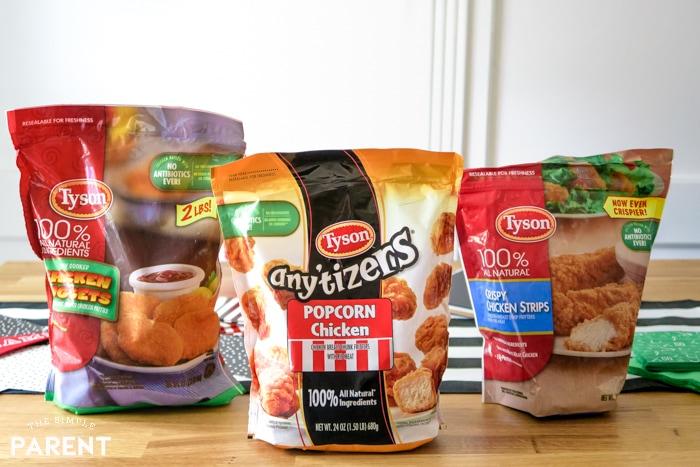 Tyson Chicken Products including chicken nuggets, popcorn chicken, and crispy chicken strips