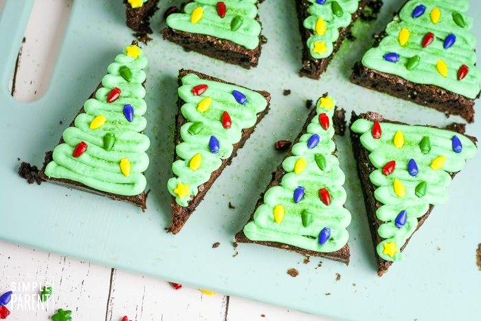 Christmas tree brownies on a cutting board
