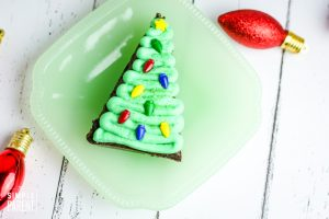 Christmas tree brownie on a plate