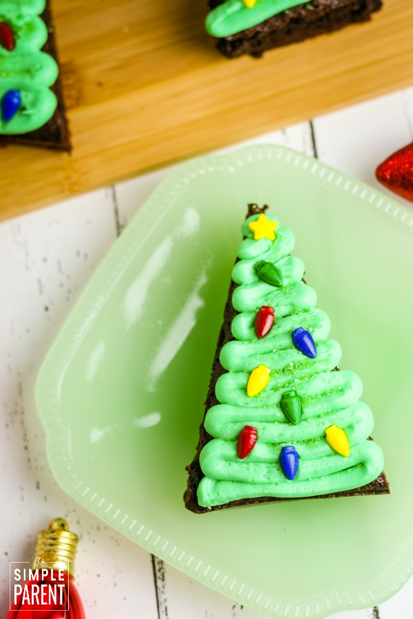 Brownie Christmas Tree on a plate