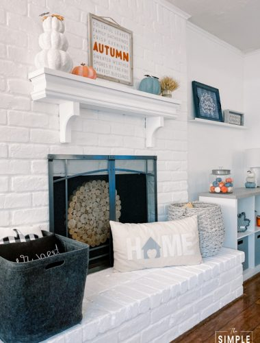 Living room fireplace with mantel decor for fall