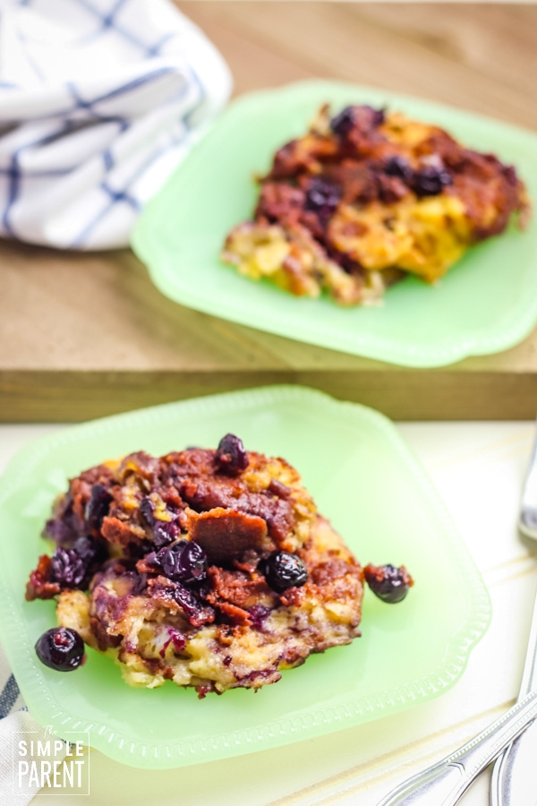 Blueberry crockpot french toast on a green plate