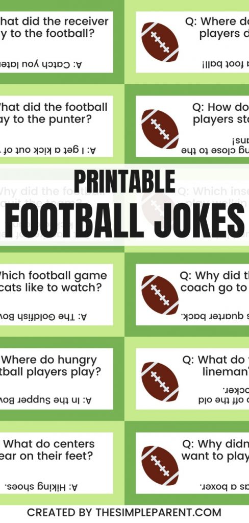Rectangles with cute football clipart and football jokes