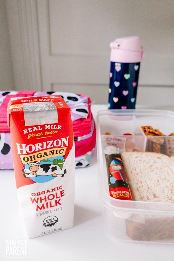 Horizon Organic milk box with packed school lunch