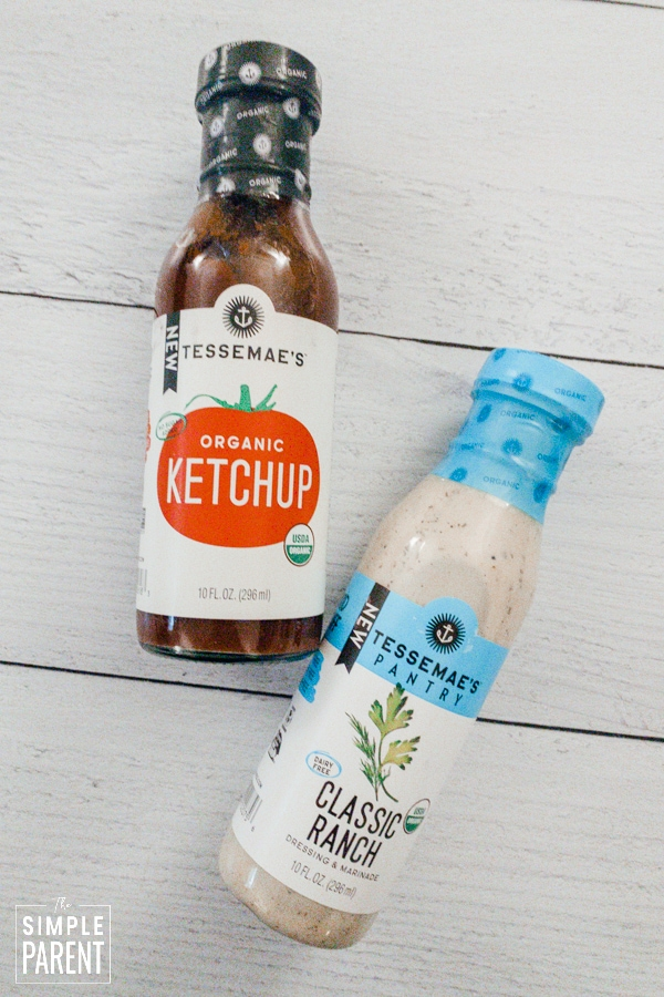 Bottles of Tessamae's Ketchup and Pantry Classic Ranch