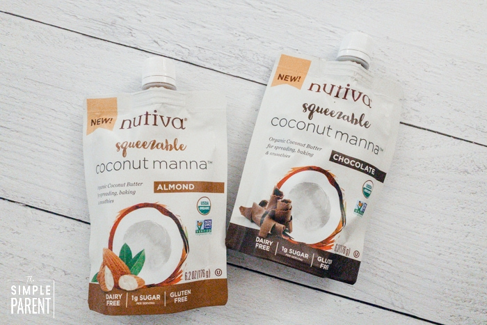 Nutiva Squeezable Organic Coconut Manna pouches in Almond and Chocolate flavors