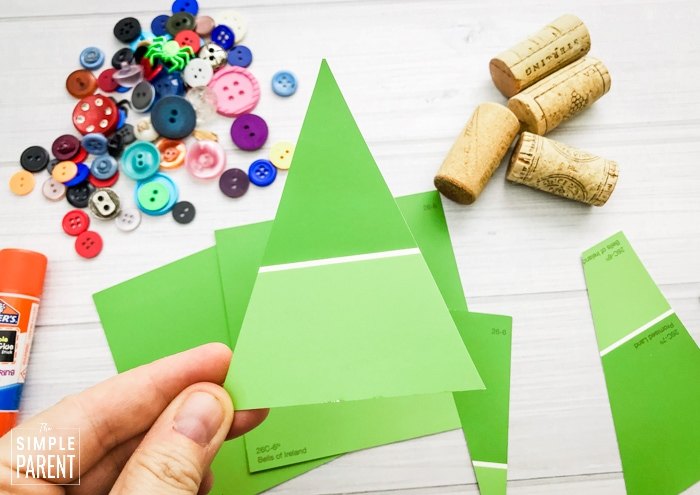Green triangle cut from a paint chip