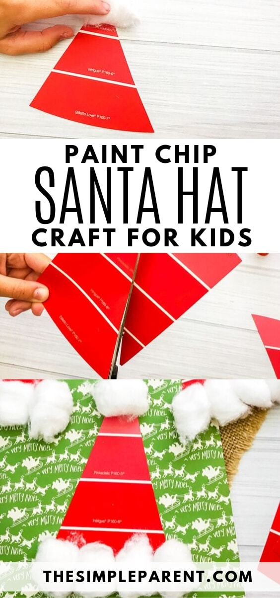 Paint Chip Santa Hat Craft for Kids