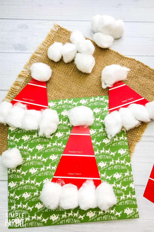 Red Paint Chip Santa Hat Craft