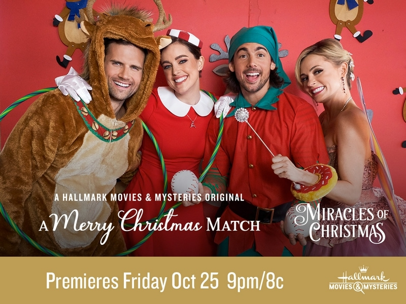 Cast of A Merry Christmas Match movie dressed as reindeer, elves, and an angel