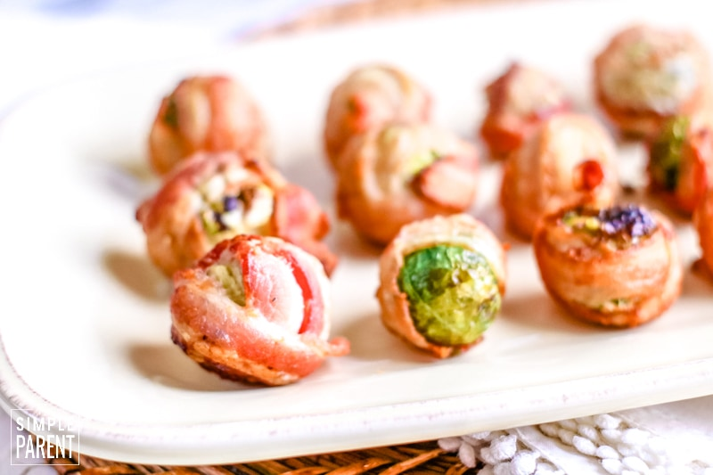 Platter of bacon wrapped Brussel sprouts