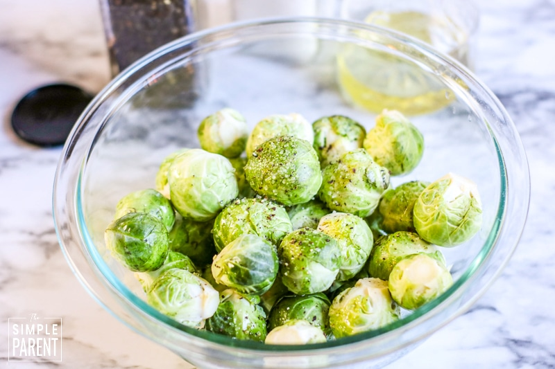 Bowl of clean green Brussel sprouts
