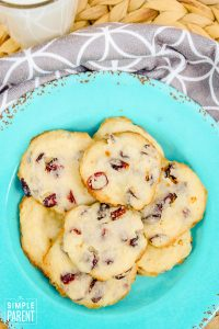 Cranberry cookies on an aqua colored plate