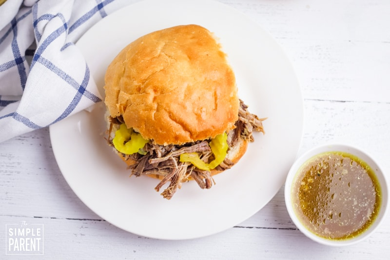 Italian roast beef sandwich with banana peppers and au jus