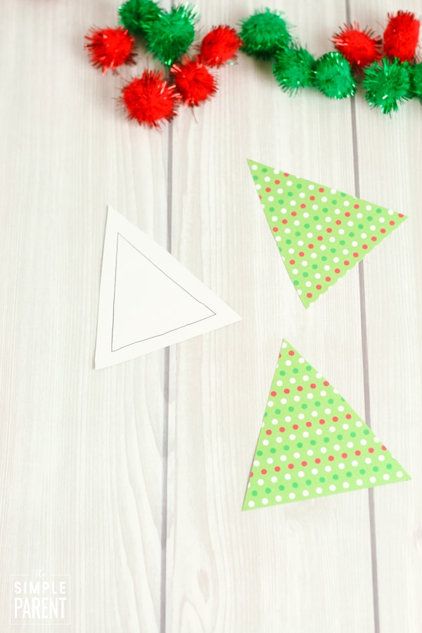 Triangles cut out of green and red polka dot scrapbook paper