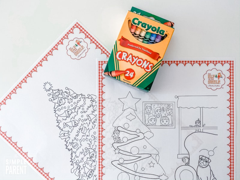 Box of Crayola crayons with printed Elf on the Shelf coloring sheets