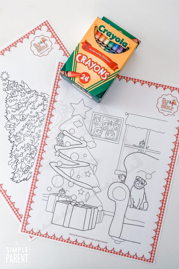 Elf on the Shelf Coloring pages with a box of crayons