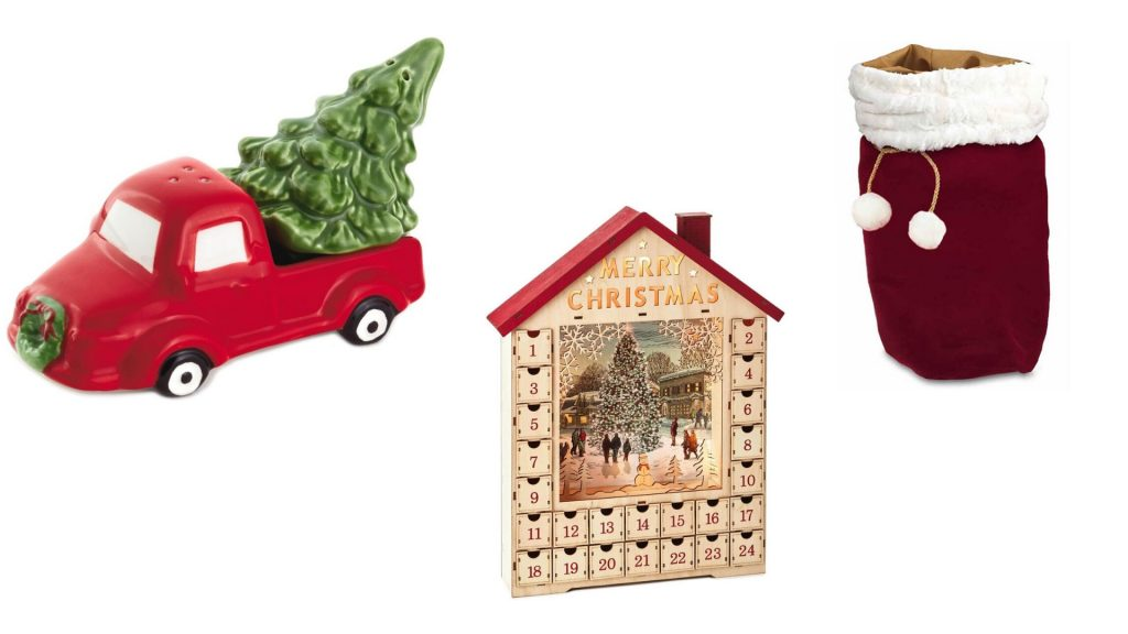Hallmark salt and pepper shakers, advent calendar, and Santa bag